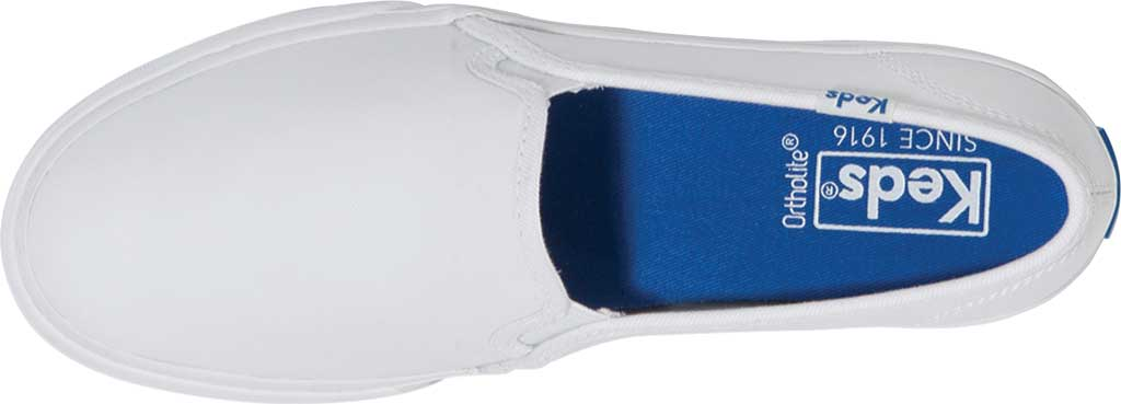 Women's Keds Double Decker Slip-On, White Leather, large, image 4