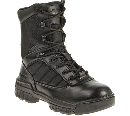 "Men's Bates 8"" Strike Side Zip Boot, Black Leather/Nylon, large, image 1"