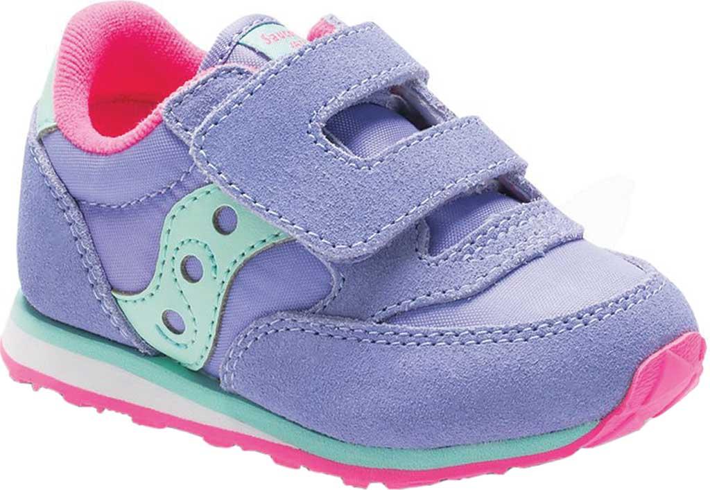 Infant Girls' Saucony Baby Jazz Hook-and-Loop Sneaker, Periwinkle Suede/Mesh, large, image 1