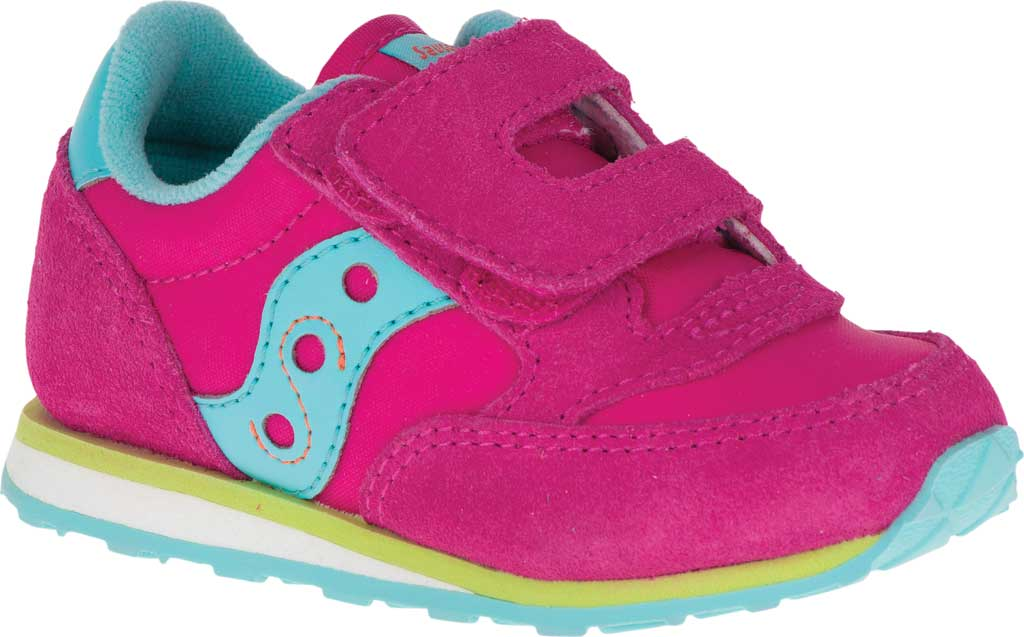 Infant Girls' Saucony Baby Jazz Hook-and-Loop Sneaker, Pink/Turquoise/Lime Suede/Mesh, large, image 1