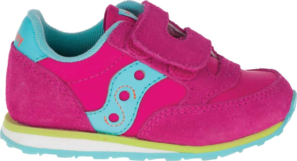 Infant Girls' Saucony Baby Jazz Hook-and-Loop Sneaker, Pink/Turquoise/Lime Suede/Mesh, large, image 2