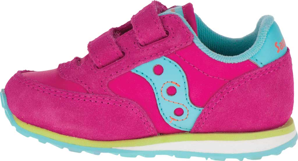 Infant Girls' Saucony Baby Jazz Hook-and-Loop Sneaker, Pink/Turquoise/Lime Suede/Mesh, large, image 3