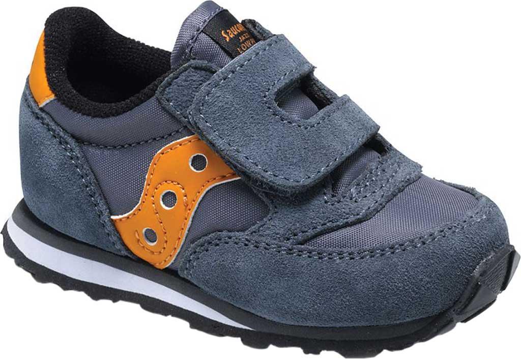 Infant Boys' Saucony Baby Jazz Hook-and-Loop Sneaker, Grey/Orange Suede/Mesh, large, image 1