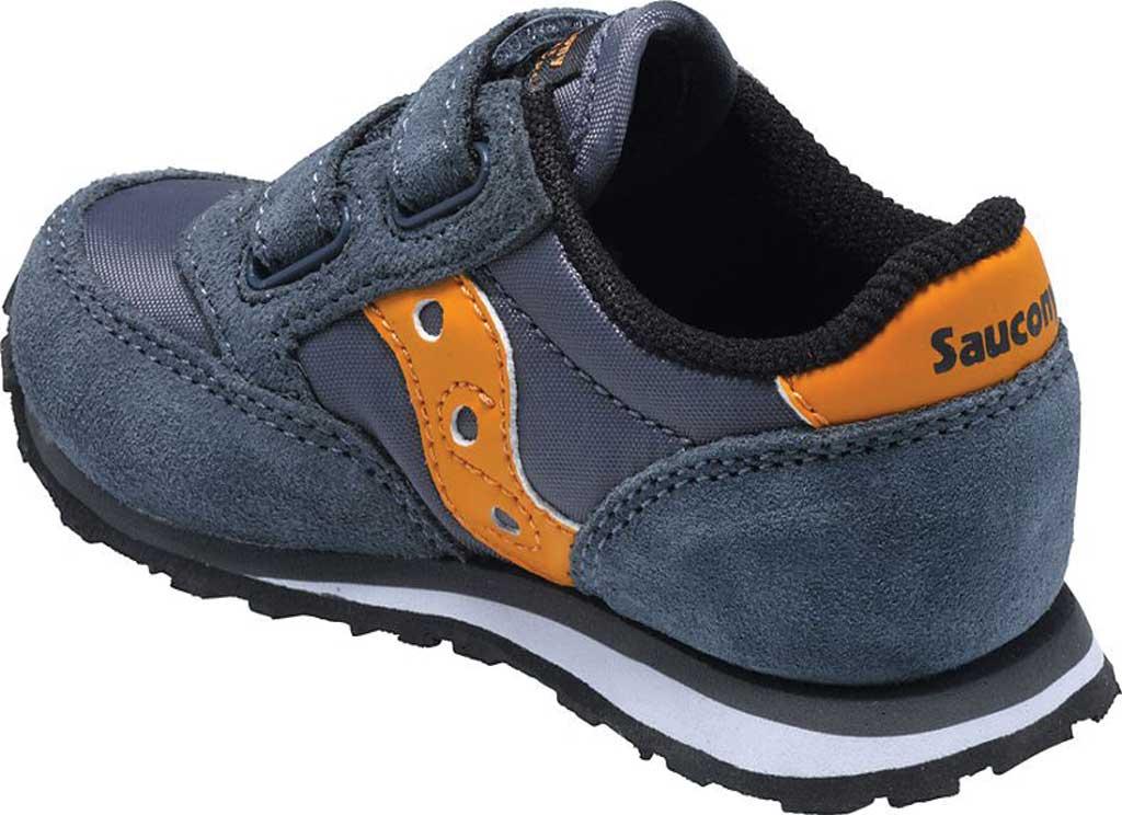 Infant Boys' Saucony Baby Jazz Hook-and-Loop Sneaker, Grey/Orange Suede/Mesh, large, image 2