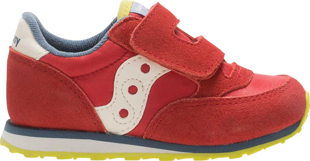 Infant Boys' Saucony Baby Jazz Hook-and-Loop Sneaker, Red/Blue/Lime Suede/Mesh, large, image 1