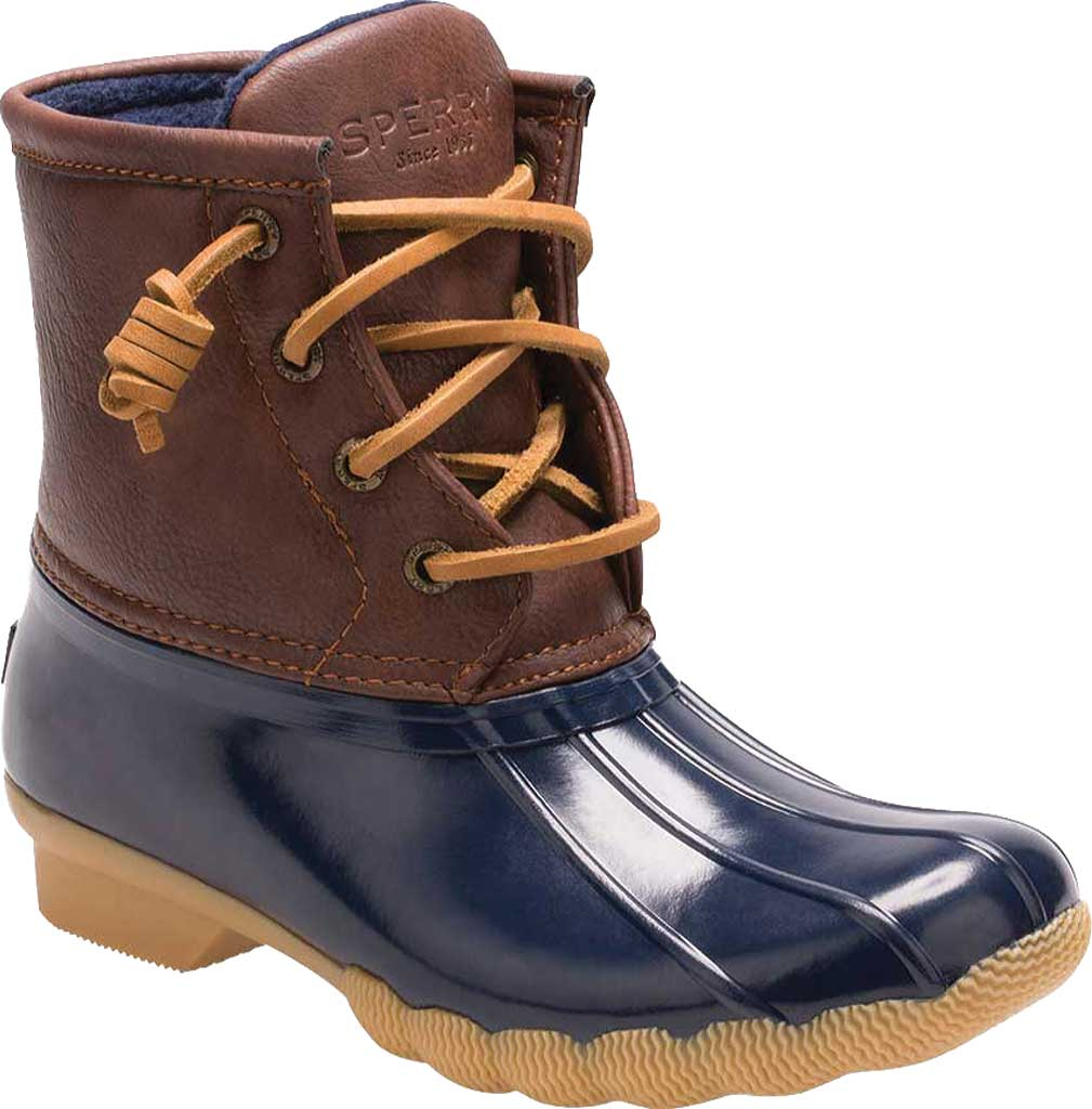 Girls' Sperry Top-Sider Saltwater Duck Boot, Navy Rubber/Synthetic, large, image 1