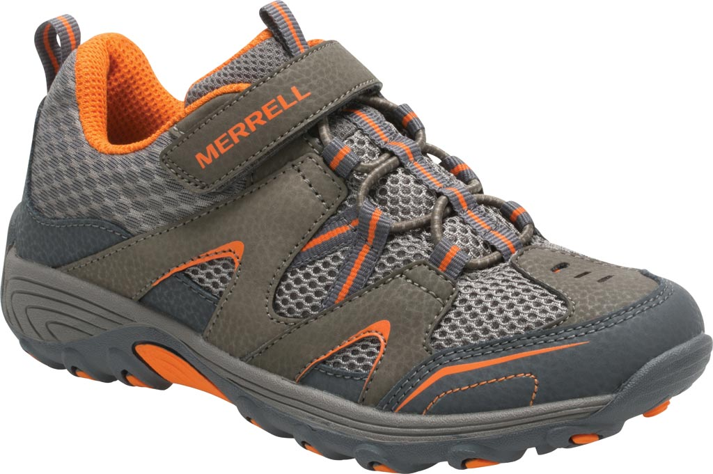 Boys' Merrell Trail Chaser Hiking Shoe Preschool, Gunsmoke/Orange Suede/Mesh, large, image 1
