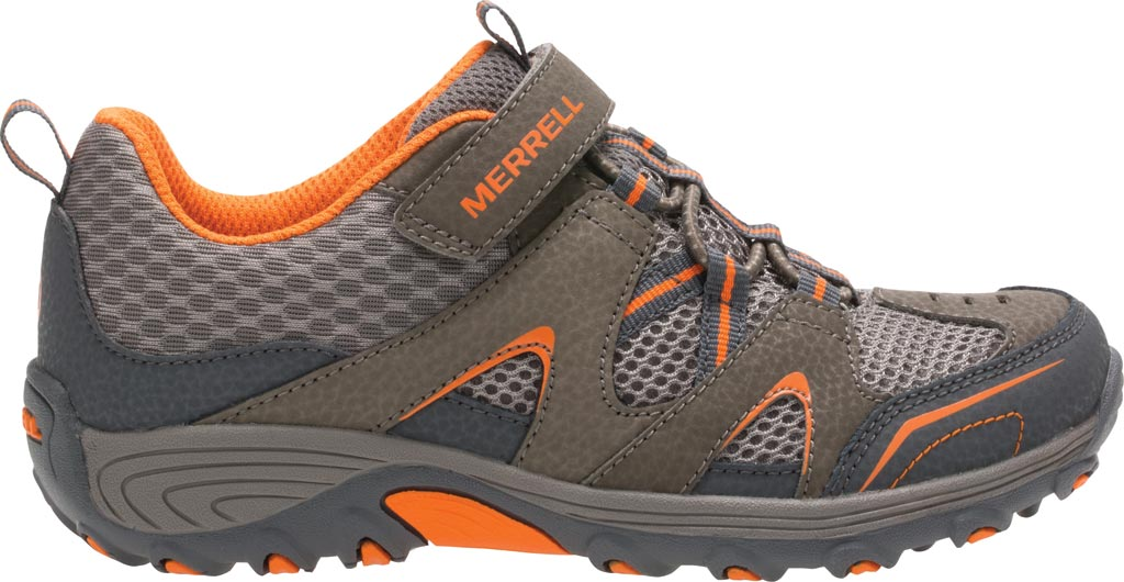Boys' Merrell Trail Chaser Hiking Shoe Preschool, Gunsmoke/Orange Suede/Mesh, large, image 2