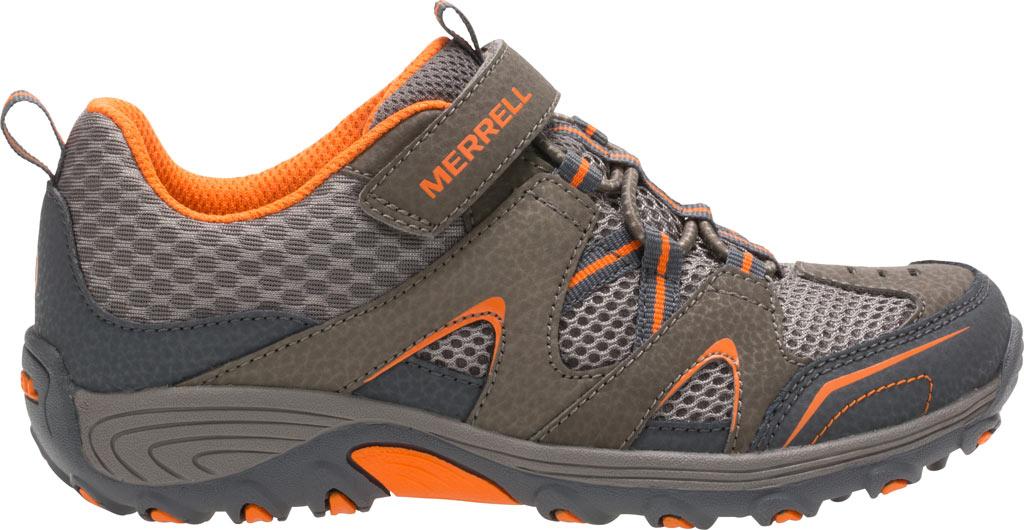 Boys' Merrell Trail Chaser Hiking Shoe Kid, Gunsmoke/Orange Suede/Mesh, large, image 2