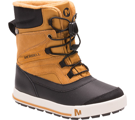 Boys' Merrell Snow Bank 2.0 Waterproof Boot Preschool, Wheat/Black Leather, large, image 1
