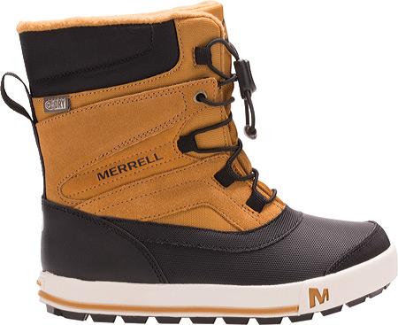 Boys' Merrell Snow Bank 2.0 Waterproof Boot Preschool, Wheat/Black Leather, large, image 2