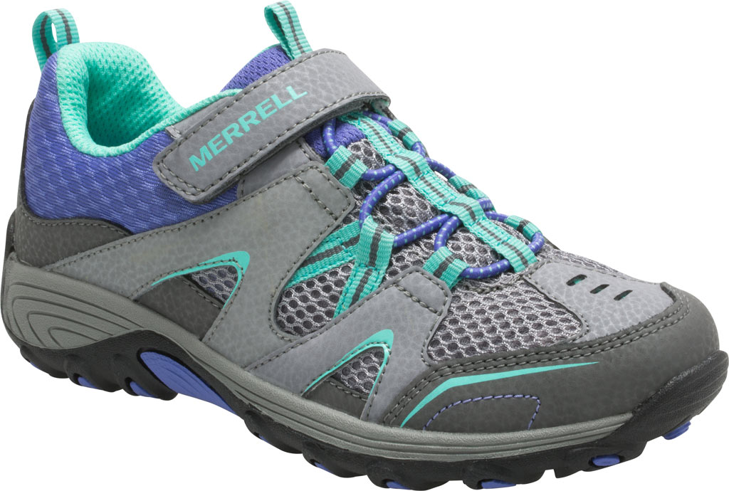 Girls' Merrell Trail Chaser Hiking Shoe Preschool, Grey/Multi Suede/Mesh, large, image 1