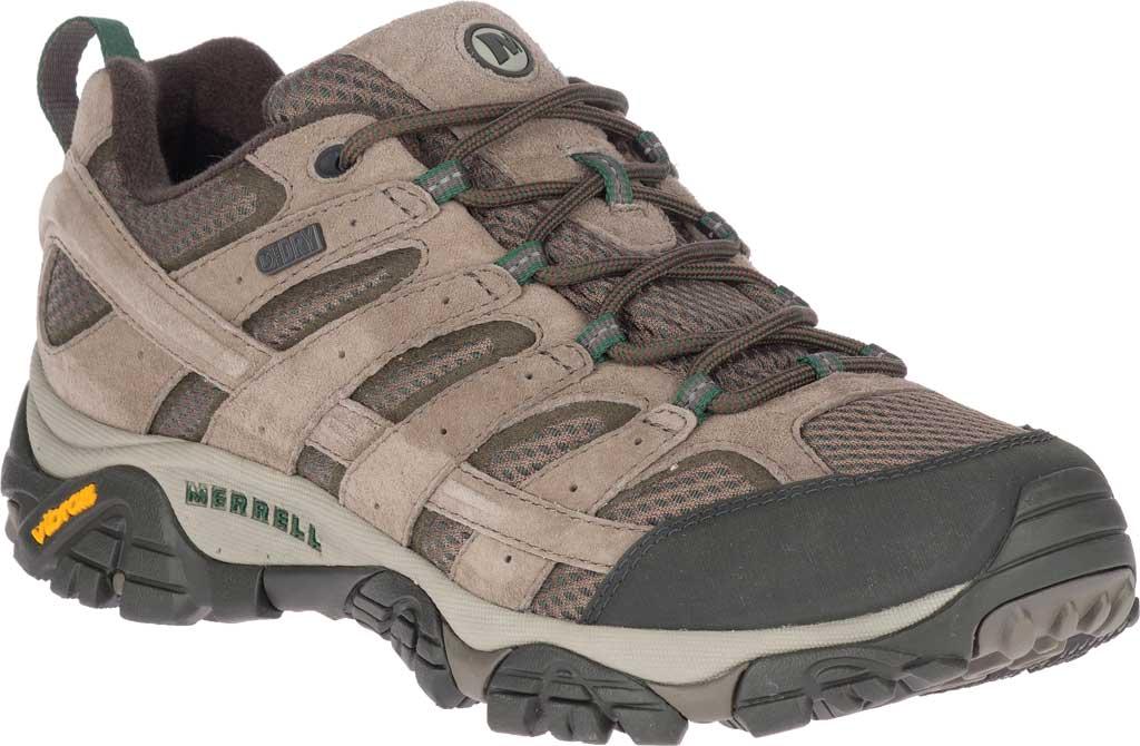 Men's Merrell Moab 2 Waterproof Hiking Shoe, Boulder Pigskin Leather/Mesh, large, image 1