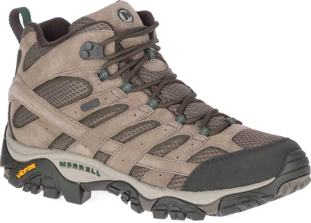 Men's Merrell Moab 2 Mid Waterproof Hiking Boot, Boulder Pigskin Leather/Mesh, large, image 1