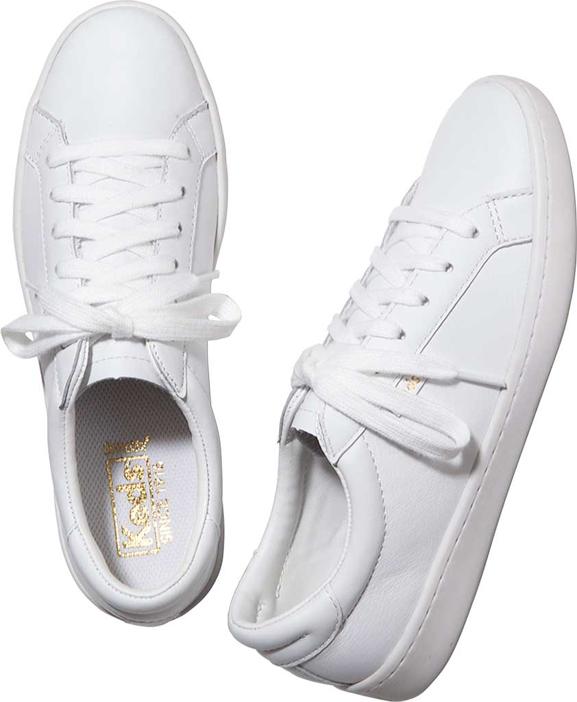 Women's Keds Ace Leather Sneaker, White/White Leather, large, image 4