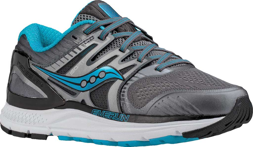 Women's Saucony Redeemer ISO 2 Running Shoe, Grey/Black/Blue, large, image 1