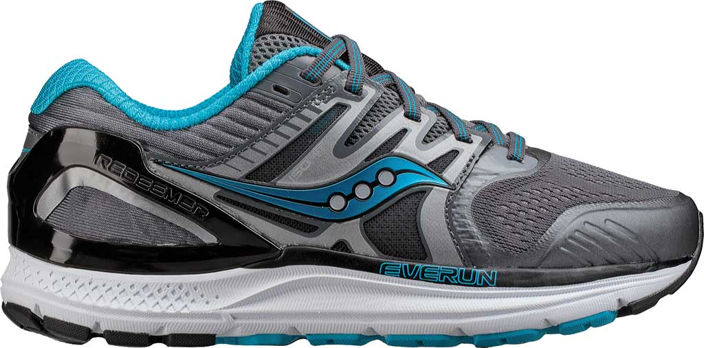 Women's Saucony Redeemer ISO 2 Running Shoe, Grey/Black/Blue, large, image 2