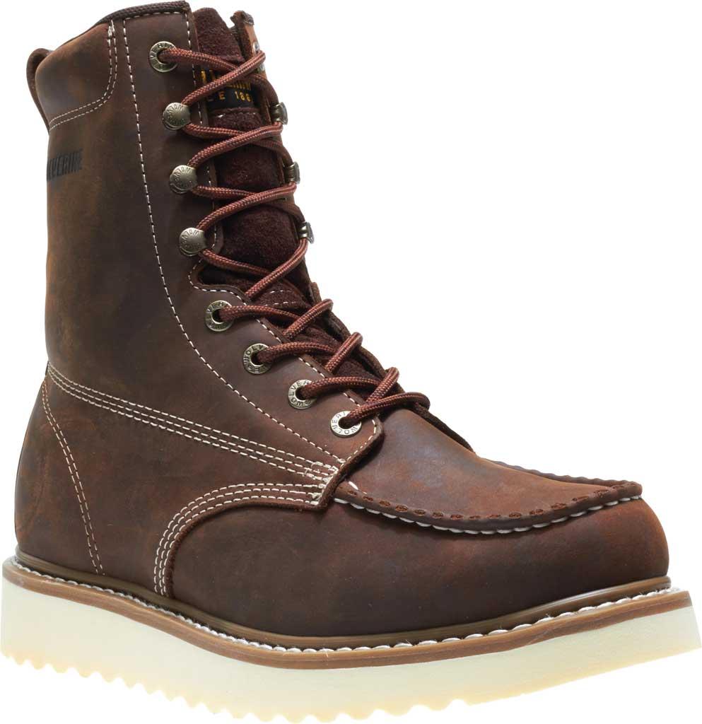 "Men's Wolverine Loader 8"" Wedge Soft-Toe Boot, Brown Leather, large, image 1"