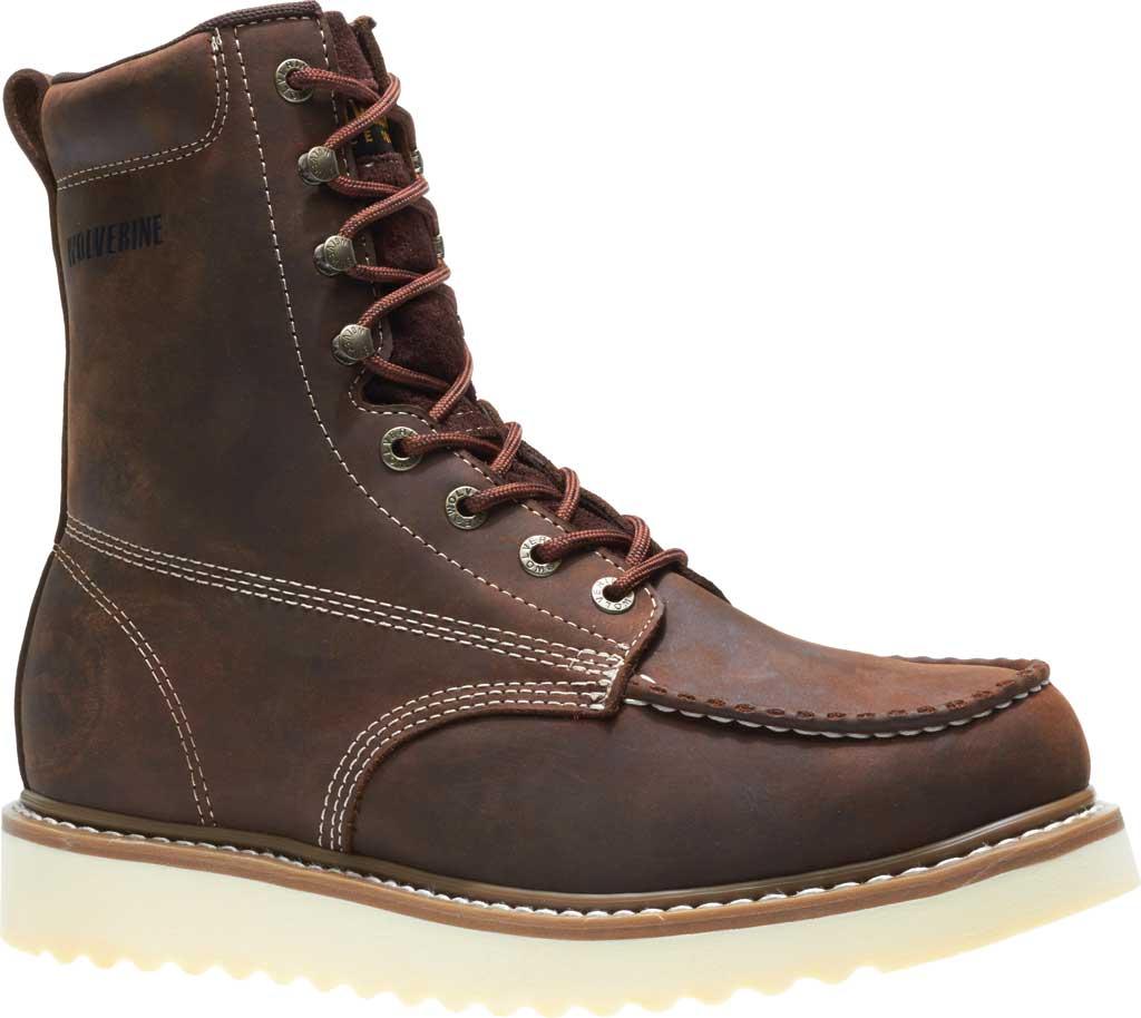 "Men's Wolverine Loader 8"" Wedge Soft-Toe Boot, Brown Leather, large, image 2"