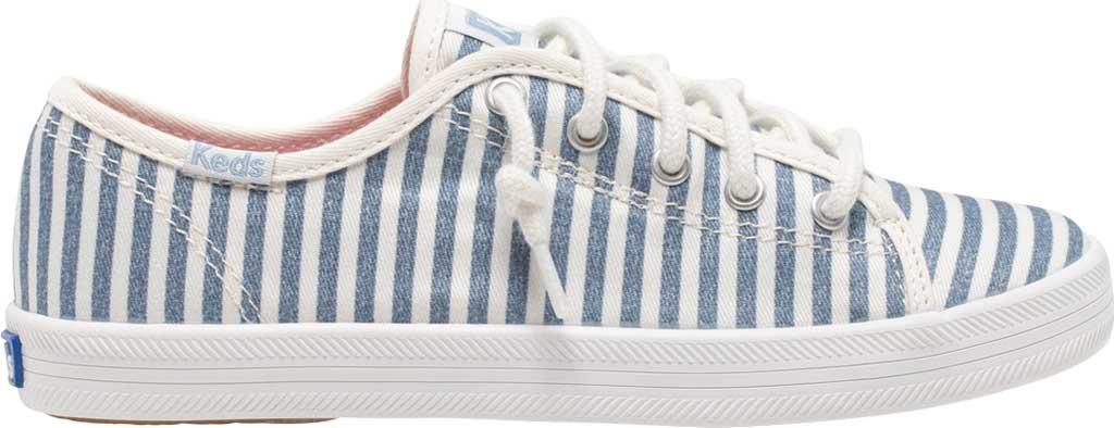 Girls' Keds Kickstart Seasonal Sneaker, Stripe Organic Cotton, large, image 2