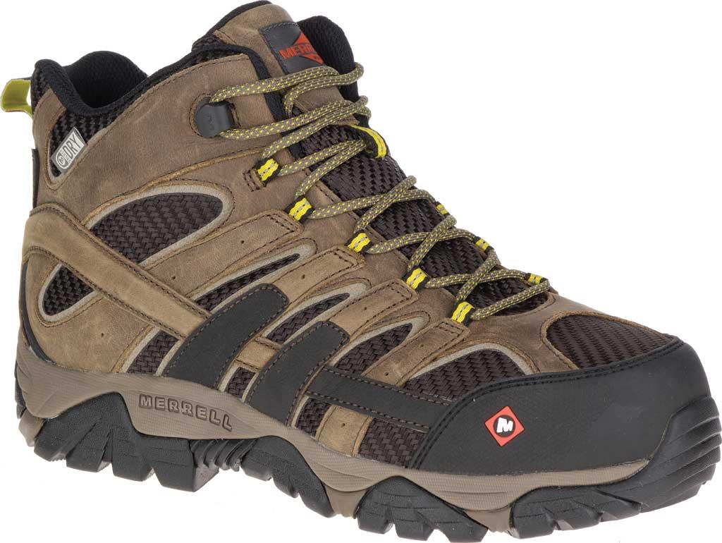 Men's Merrell Work Moab 2 Vent Mid Waterproof Composite Boot, Boulder Leather/Textile, large, image 1