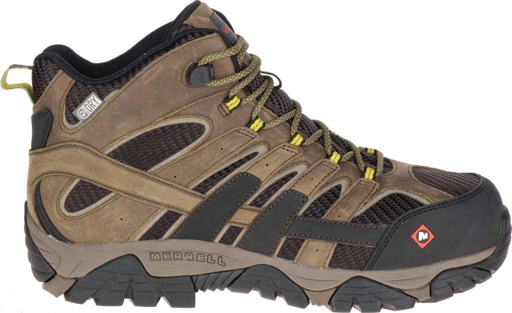 Men's Merrell Work Moab 2 Vent Mid Waterproof Composite Boot, Boulder Leather/Textile, large, image 2