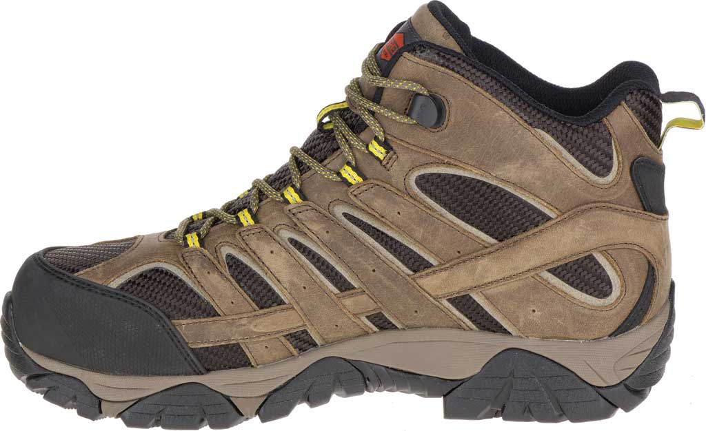 Men's Merrell Work Moab 2 Vent Mid Waterproof Composite Boot, Boulder Leather/Textile, large, image 3