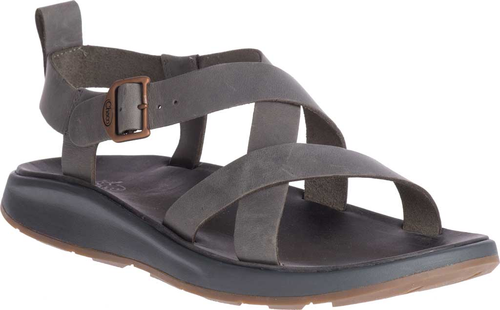 Men's Chaco Wayfarer Leather Sandal, Gray Full Grain Leather, large, image 1