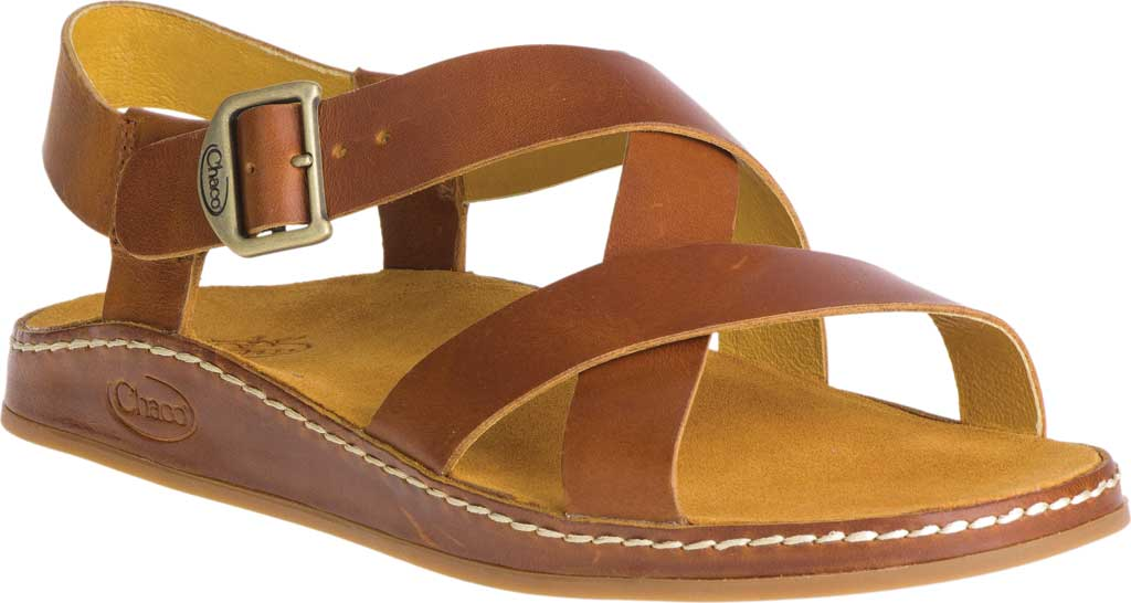 Women's Chaco Wayfarer Leather Sandal, Ochre Full Grain Leather, large, image 1