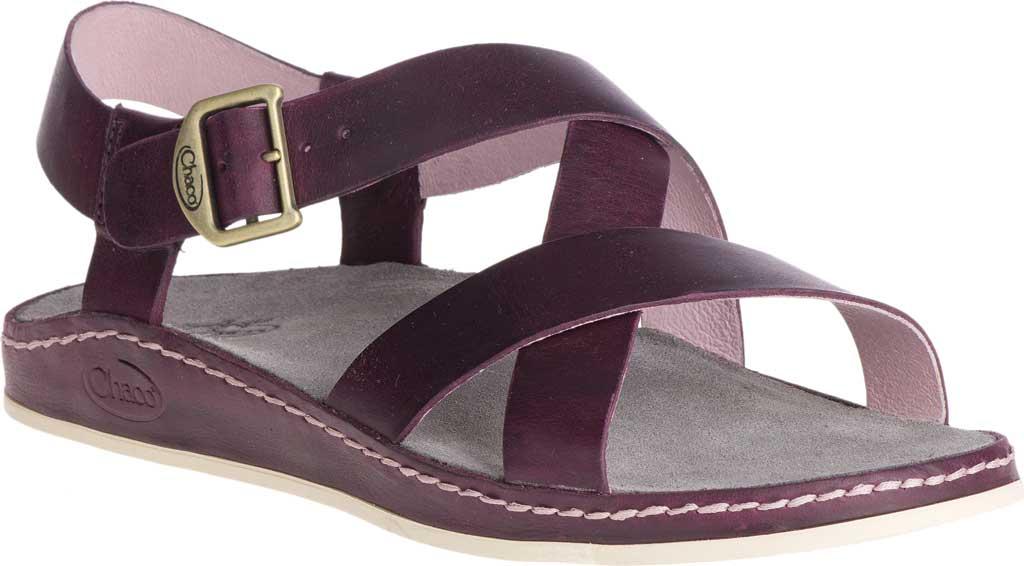 Women's Chaco Wayfarer Leather Sandal, Fig Full Grain Leather, large, image 1