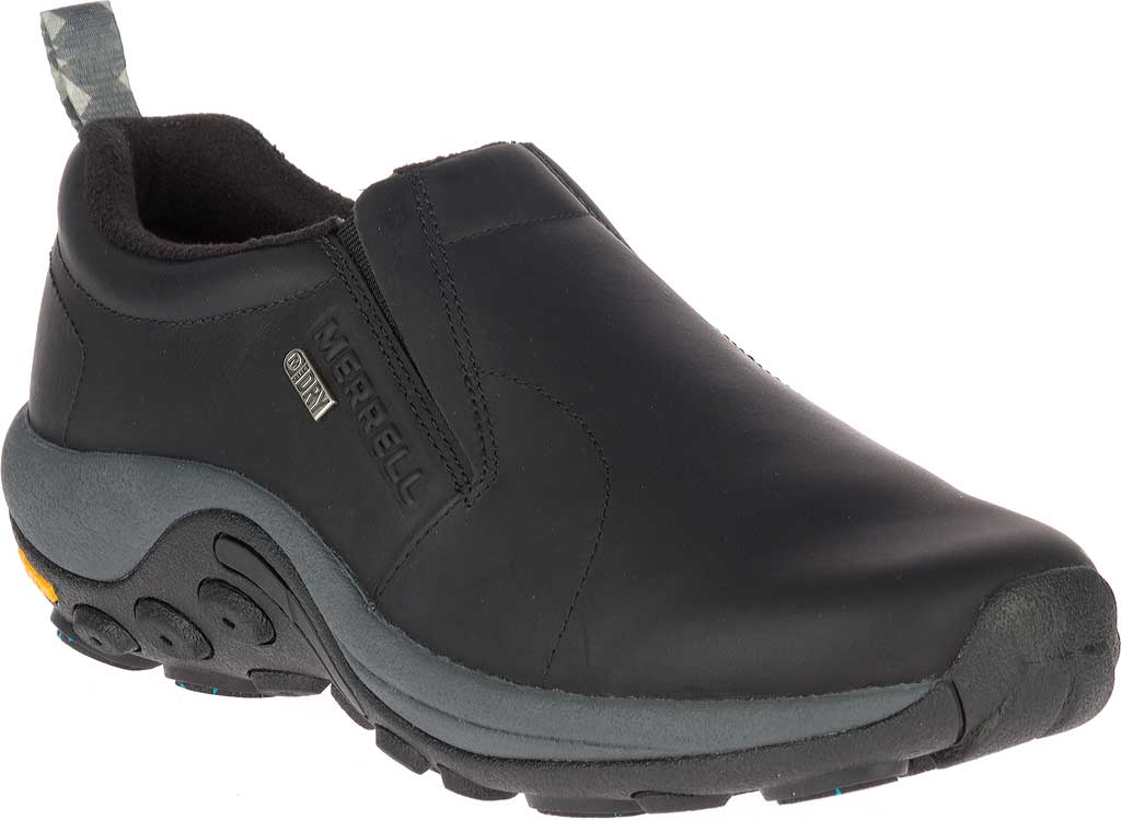 Men's Merrell Jungle Moc Leather Waterproof Ice+ Slip-On, Black Leather, large, image 1