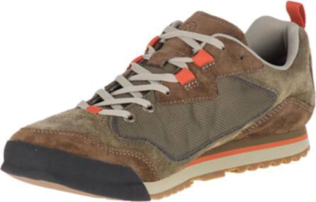 Men's Merrell Burnt Rock Travel Suede Sneaker, Dusty Olive Suede/Mesh, large, image 3