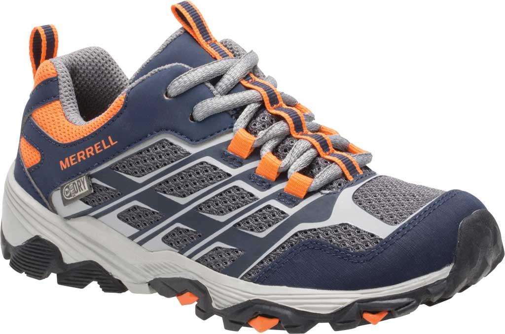 Boys' Merrell Moab FST Low Waterproof Hiking Shoe, Navy/Grey/Or, large, image 1