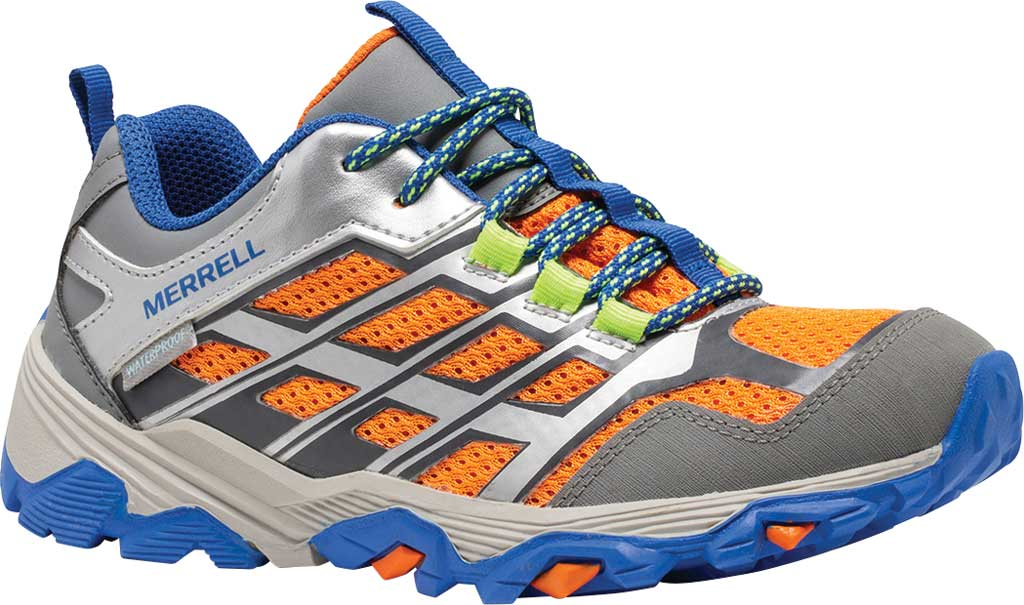 Boys' Merrell Moab FST Low Waterproof Hiking Shoe, Grey/Silver/Orange Waterproof Mesh, large, image 1