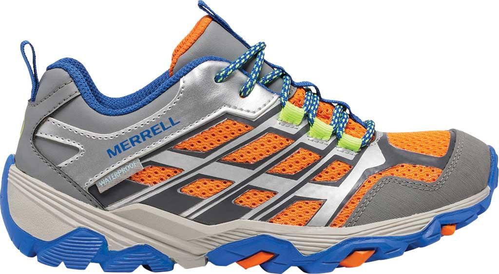 Boys' Merrell Moab FST Low Waterproof Hiking Shoe, Grey/Silver/Orange Waterproof Mesh, large, image 2