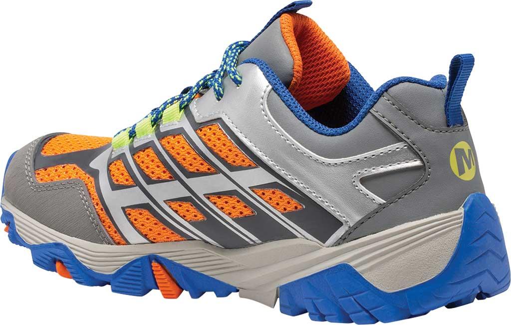 Boys' Merrell Moab FST Low Waterproof Hiking Shoe, Grey/Silver/Orange Waterproof Mesh, large, image 3