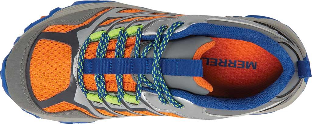 Boys' Merrell Moab FST Low Waterproof Hiking Shoe, Grey/Silver/Orange Waterproof Mesh, large, image 4