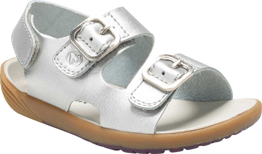 Infant Girls' Merrell Bare Steps Walking Sandal, Silver, large, image 1