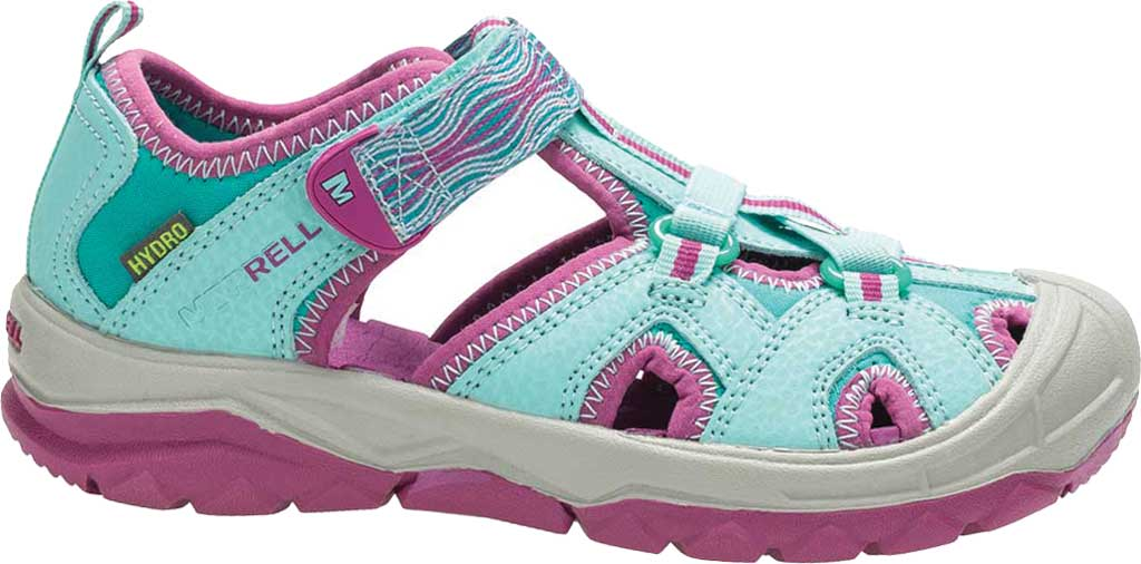 Girls' Merrell Hydro Closed Toe Sandal, Turquoise/Purple, large, image 1