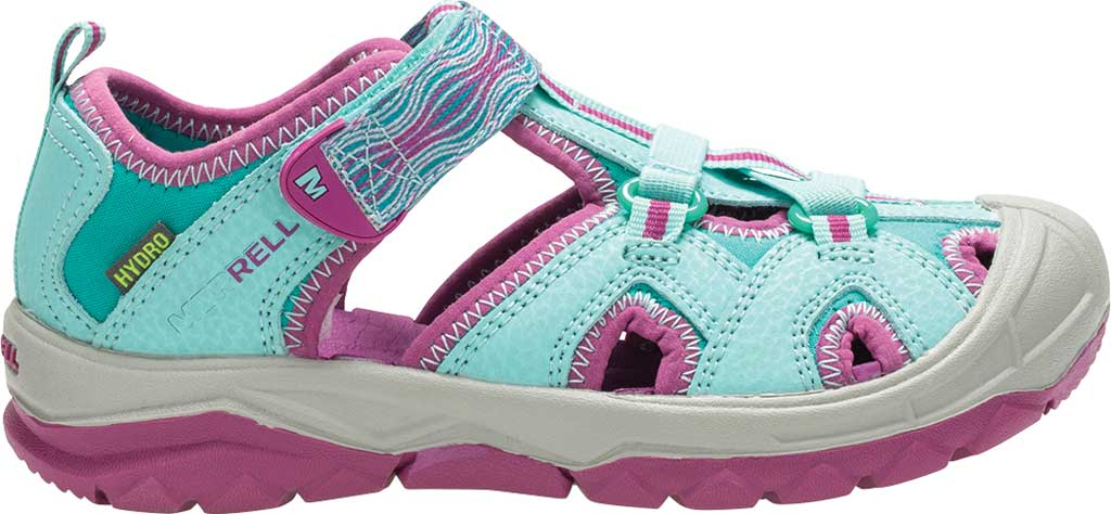 Girls' Merrell Hydro Closed Toe Sandal, Turquoise/Purple, large, image 2