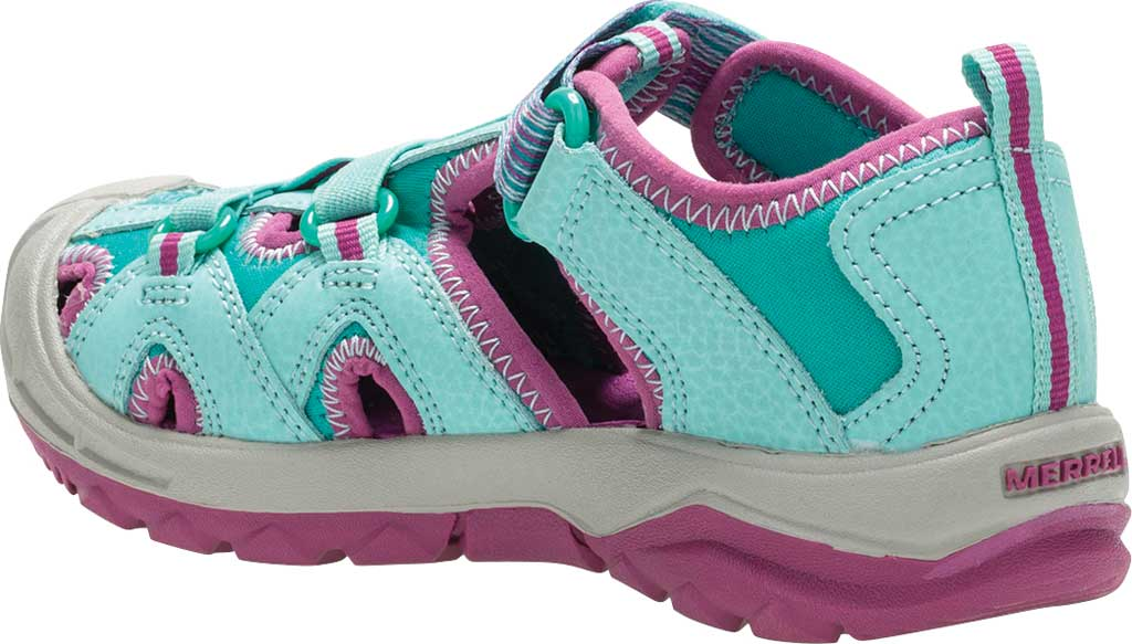 Girls' Merrell Hydro Closed Toe Sandal, Turquoise/Purple, large, image 3