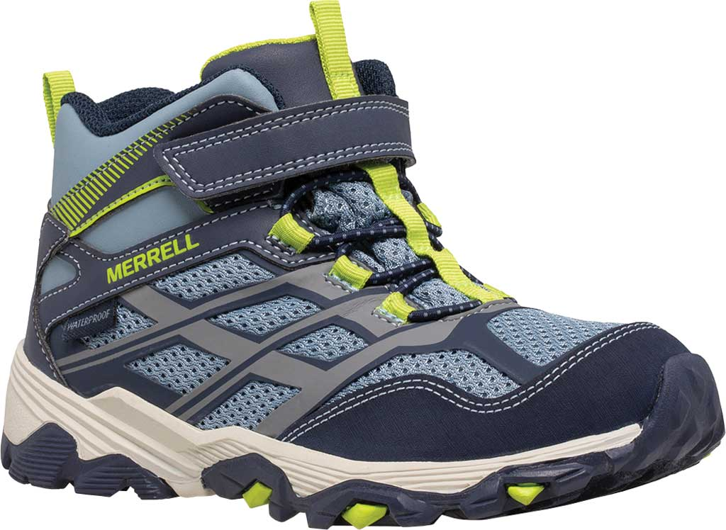 Boys' Merrell Moab FST Mid A/C Waterproof Hiking Boot, Navy/China Blue Waterproof Mesh, large, image 1