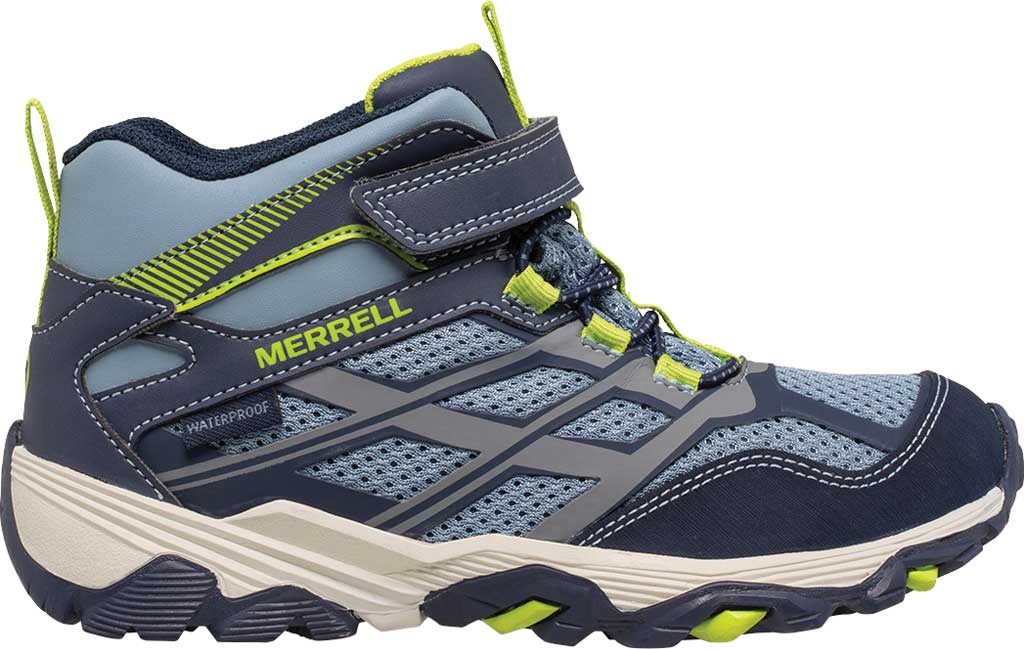 Boys' Merrell Moab FST Mid A/C Waterproof Hiking Boot, Navy/China Blue Waterproof Mesh, large, image 2