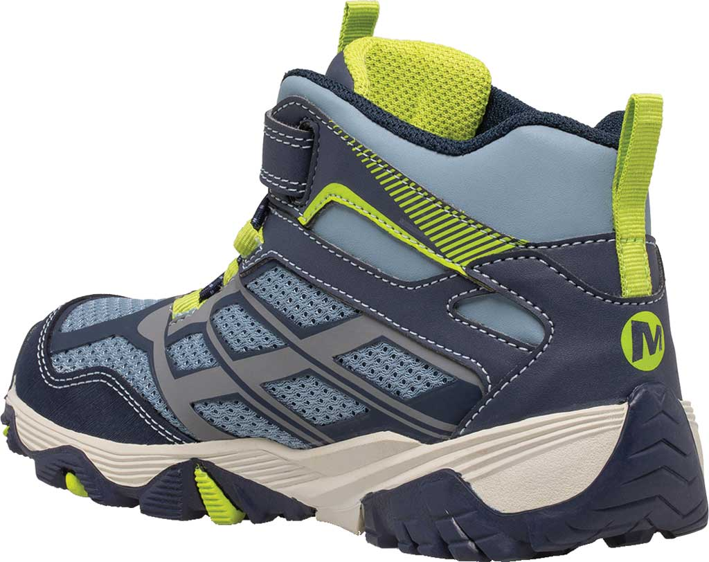 Boys' Merrell Moab FST Mid A/C Waterproof Hiking Boot, Navy/China Blue Waterproof Mesh, large, image 3