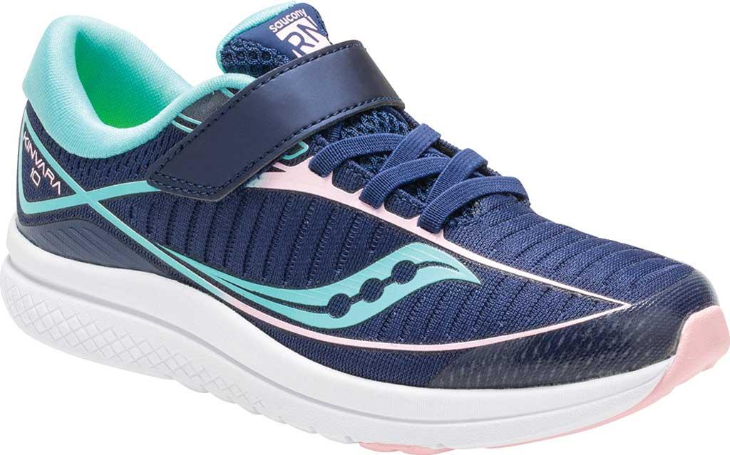 Girls' Saucony Kinvara 10 AC Running Shoe, Navy/Turquoise Textile, large, image 1