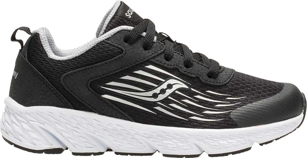 Boys' Saucony Wind Running Shoe, Black Leather/Mesh, large, image 2