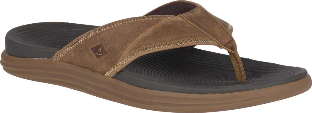 Men's Sperry Top-Sider Regatta Thong Sandal, Brown Full Grain Leather, large, image 1