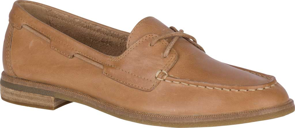 Women's Sperry Top-Sider Seaport Boat Shoe, Tan Full Grain Leather, large, image 1