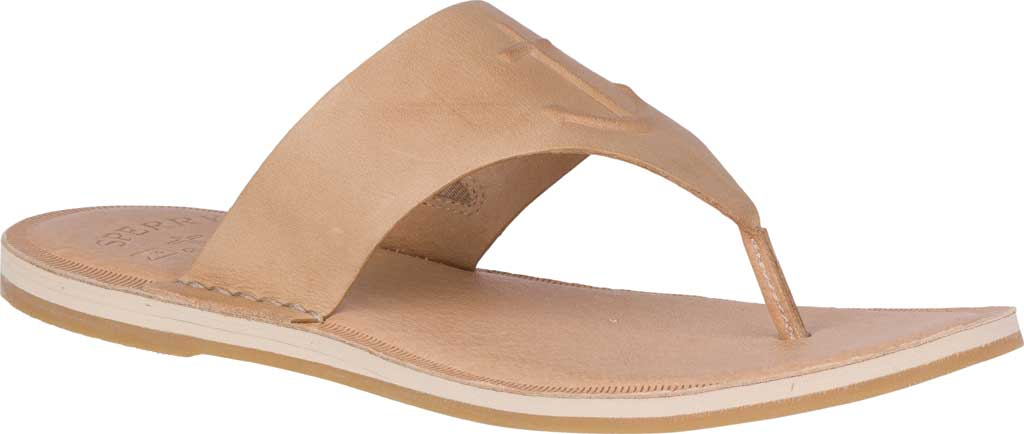 Women's Sperry Top-Sider Seaport Leather Thong Sandal, Medium Beige Full Grain Leather, large, image 1