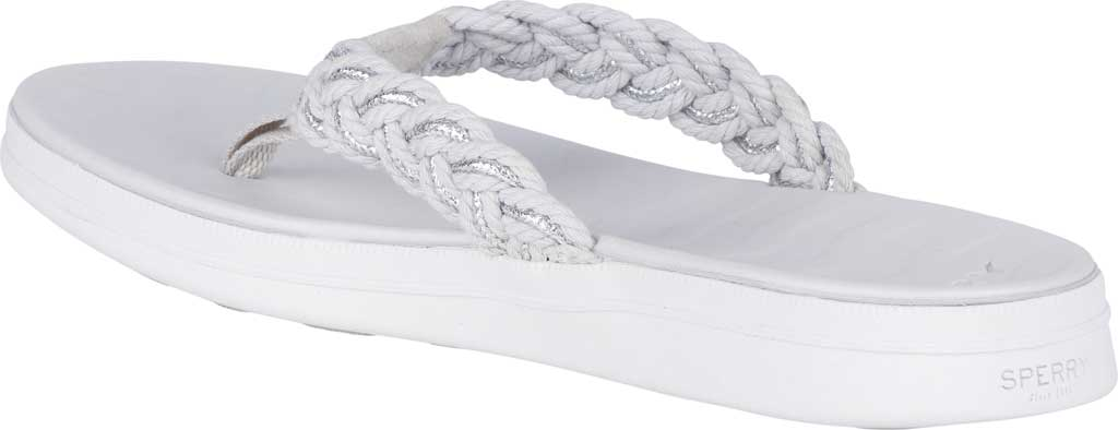 Women's Sperry Top-Sider Adriatic Thong Braided Sandal, Grey/Silver Textile, large, image 4